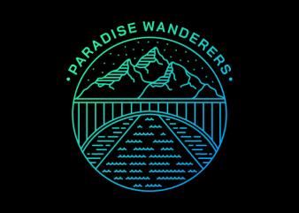 Paradise Wanderers t shirt design template
