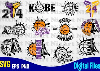 12 Kobe bryant designs, Kobe Bryant bundle, Basketball, Ball, Sports, Rip Kobe, Basketball svg, Kobe svg, Sports svg, Funny Basketball design svg eps, png files for cutting machines and print t shirt designs for sale t-shirt design png