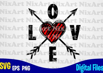 Love with heart and cupid arrows, Cupid arrow, Love, Valentine, Heart, Funny Valentines day design svg eps, png files for cutting machines and print t shirt designs for sale