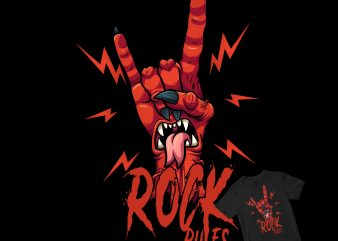 ROCK N ROLL RULES DEVIL ZOMBIE HAND shirt design t shirt design for purchase