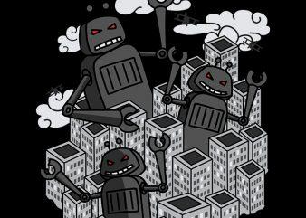 Robot Invasion t shirt design to buy