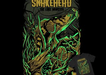 SNAKEHEAD, The lake monster fish buy t shirt design artwork