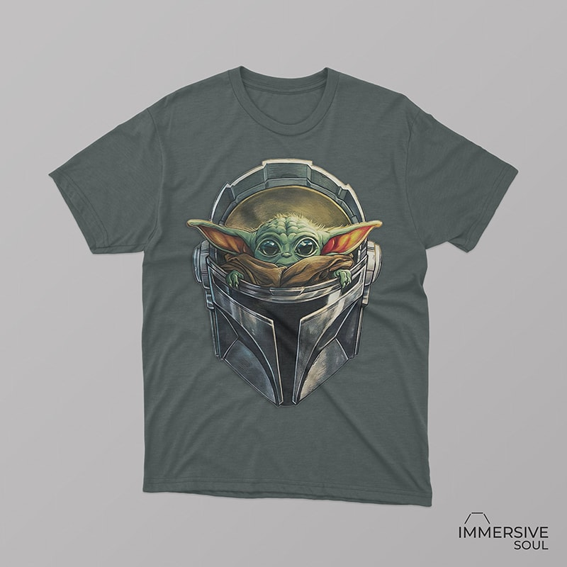 Baby Yoda Star Wars in Mandalorian Mask T-Shirt Design for Commercial Use