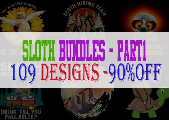 Sloth Bundle Part 1 – 109 Designs – 90% OFF