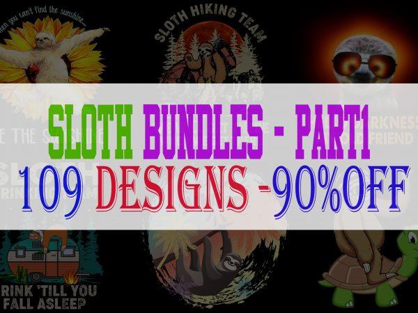 Sloth Bundle Part 1 – 109 Designs – 90% OFF