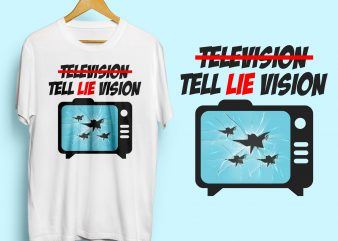 TELL LIE VISION Vintage style graphic t-shirt design for sale