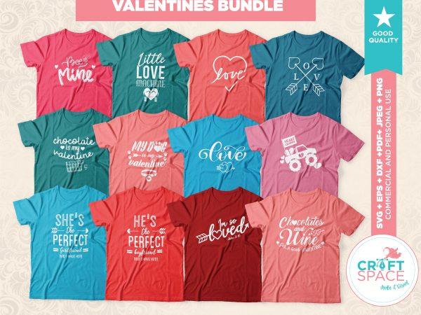 Valentines SVG Bundle + Bonus Cutting File DXF PDF Cut File for Cricut and Silhouette t shirt vector art