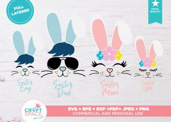 Easter Family SVG DXF PDF Cutting File for Cricut Explore Silhouette Cameo Studio 3 buy t shirt design artwork