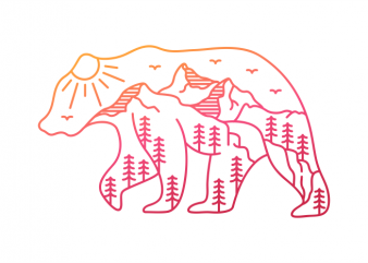 The Adventurous Bear t-shirt design for sale