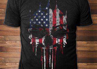 Patriotic Skull t-shirt design for sale