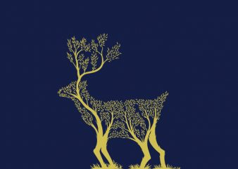 Trees or Deer buy t shirt design for commercial use