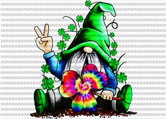 Hippie Gnomes, Hippie Clover St Patrick's Day png, jpg t shirt design to buy