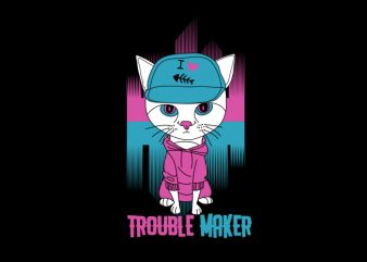 retro cat trouble maker buy t shirt design