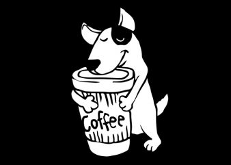 coffee and dog graphic t-shirt design