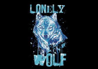 lonely wolf print ready t shirt design