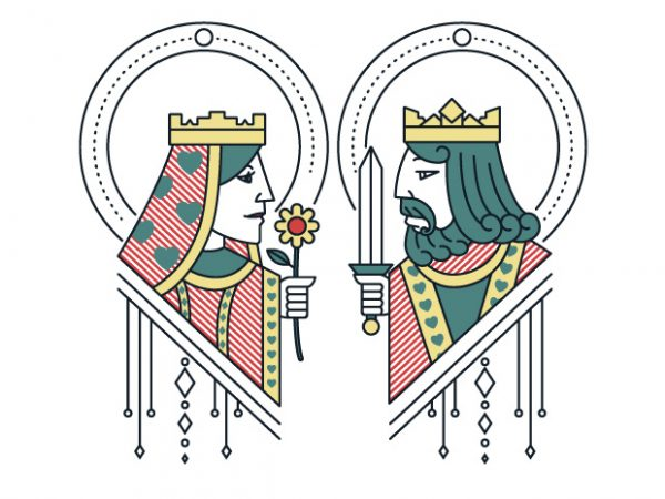 king and queen graphic t-shirt design