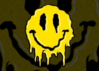 Smiley melted ready made tshirt design