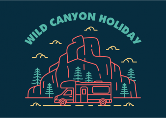 Wild Canyon Holiday graphic t-shirt design