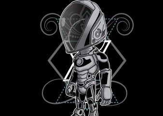 astronaut cyborg cartoon shirt design png