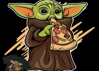 piza baby yoda starwars t shirt design for download