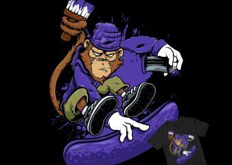 Bad Monkey painter cartoon pop style t shirt design template