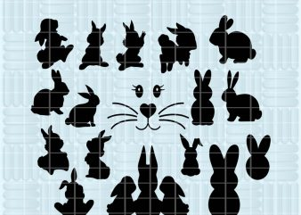 17 Design Rabbit SVG cutting files for Cricut and Silhouette Cameo – Rabbit png clipart – Rabbit dxf vector files commercial use t-shirt design