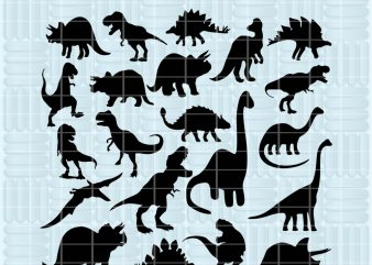 21 Design Dinosaur SVG cutting files for Cricut and Silhouette Cameo – Dinosaur png clipart – Dinosaur dxf vector files graphic t-shirt design