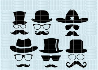 glasses mustache SVG cutting files for Cricut and Silhouette Cameo – glasses mustache png clipart – glasses mustache dxf vector files – TS24 t shirt design for download