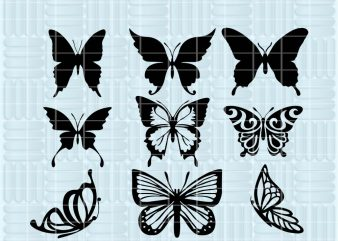 9 Design Butterfly SVG for Cricut, Silhouette – Butterfly silhouette – Butterfly png clipart – Butterfly dxf vector files t shirt design for purchase