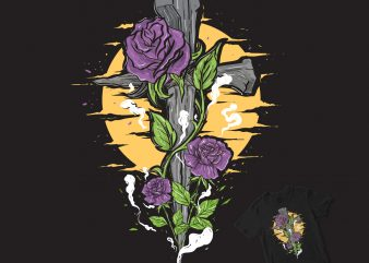 a cross with flower ornaments graphic t-shirt design