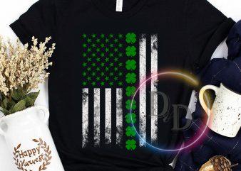 America Patrick's day USA Clover Flag graphic t-shirt design