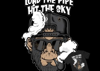 smoker chimp monkey t-shirt design for sale