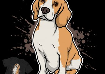 phinook dog breed cartoon t-shirt design for commercial use