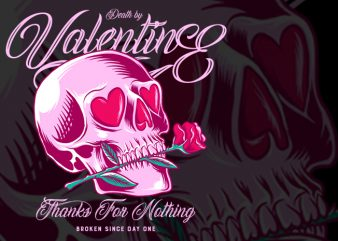Death by Valentine PNG PSD transparant background t-shirt design for commercial use