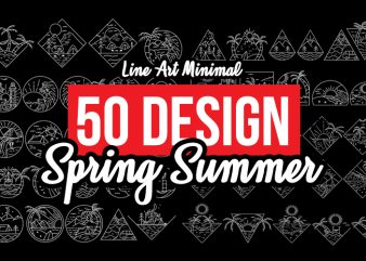50 Spring Summer Vector Design Bundles , Line art, Minimal ,tattoo style t shirt design for download