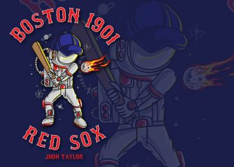 Boston Red Sox Astronaut playing baseball in space. Vector illustration. commercial use t-shirt design