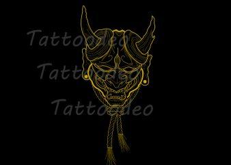 Hanya mask tattoo t-shirt Design Gift Japan Handdraw PNG PSD File Tattoo Lovers