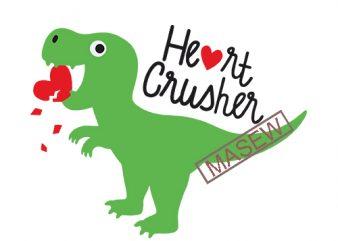 Dinosaur Love Heart SVG DXF Heart Crusher Dinosaur Funny, Baby, Kid, Dinosaur Valentines Day svg dxf Cut Files for Cricut Silhouette t shirt design for sale