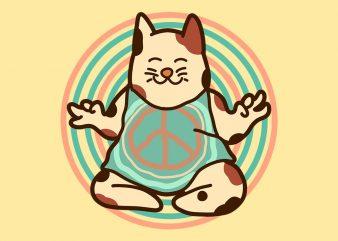hippie cat tshirt design