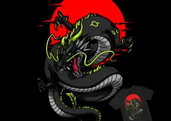japanese dragon t shirt design template