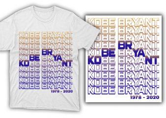 kobe bryant , black mamba t shirt design template 1978 – 2020