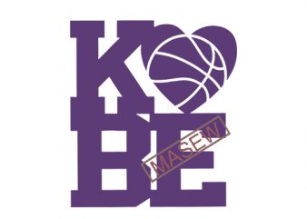 Kobe Bryant svg heart basketball. Hand drawn heart basketball kobe svg. Cricut cut files clipart for shirts, signs, etc. EPS SVG PNG DXF digital download