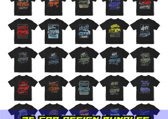 25 pop car style t-shirt designs combined with lettering design bundles
