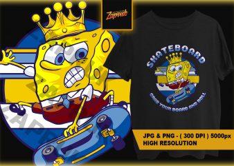 Cartoon Spongebob Skateboard PNG – ready made tshirt design