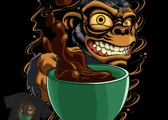 monkey cofee's buy t shirt design for commercial use