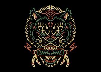 mythical wolf tshirt design