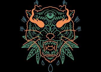 possessed tiger tshirt design