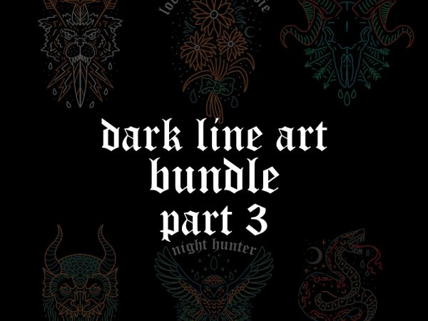 dark line art bundle part3 t shirt vector illustration