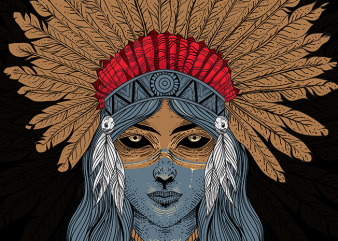 Indian Native Girl T-Shirt Design