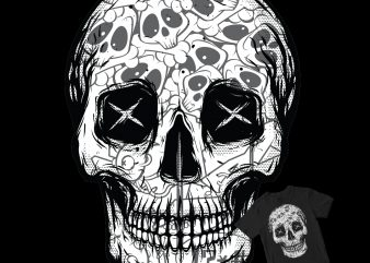 skull head pop and pattern t shirt design for download